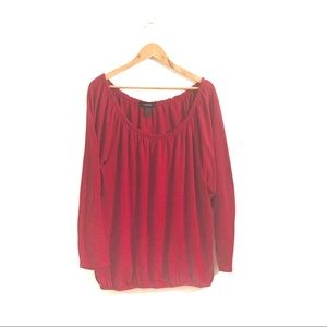 ASHLEY STEWART Red Long Sleeve Blouse